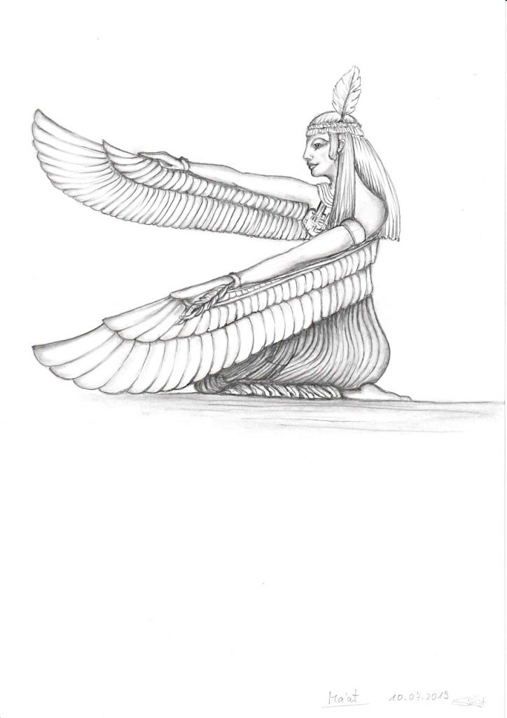 Zeichnung Relief Ägypten Gottheit Maat